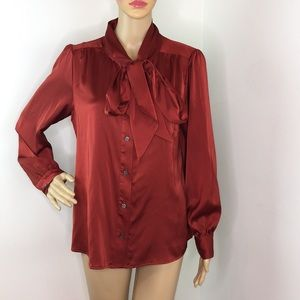 Vince Camuto Rust Pussy Bow Blouse